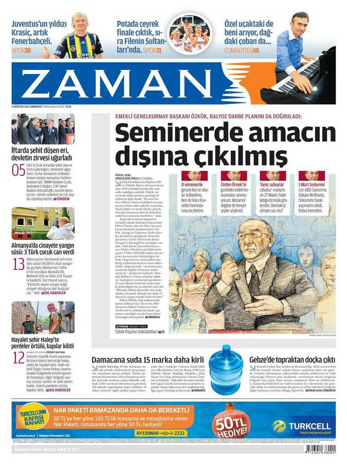 Gazete Manşetleri - 4 Ağustos 2012 24