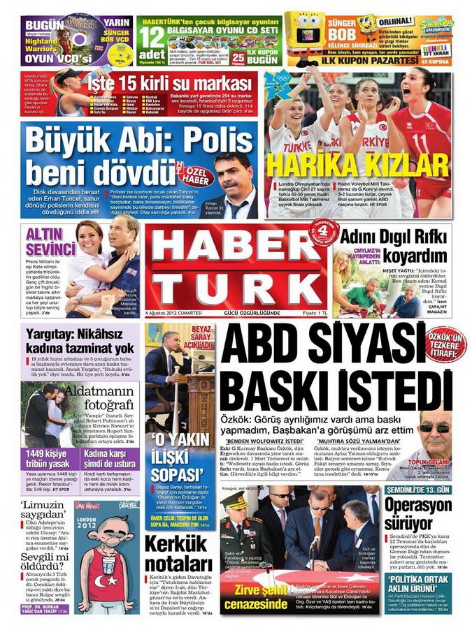 Gazete Manşetleri - 4 Ağustos 2012 6