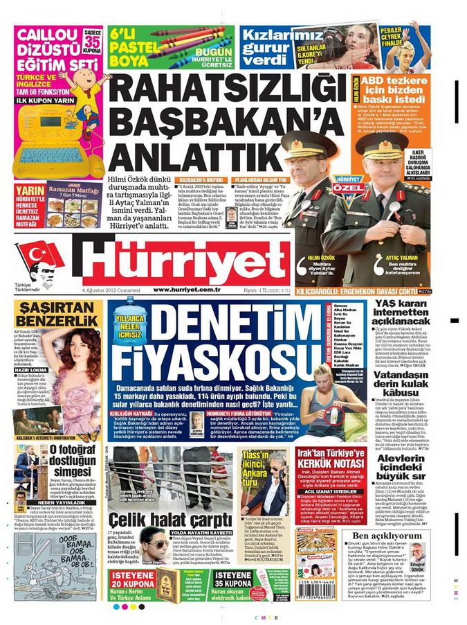 Gazete Manşetleri - 4 Ağustos 2012 7