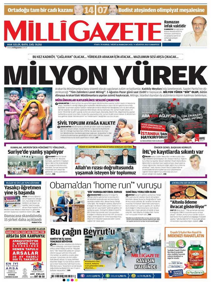 Gazete Manşetleri - 4 Ağustos 2012 8