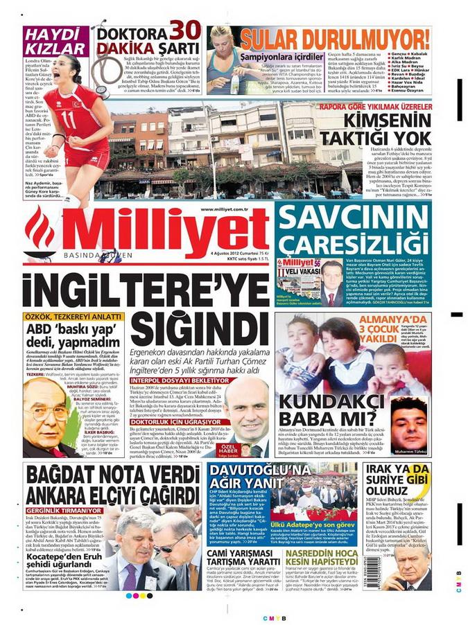 Gazete Manşetleri - 4 Ağustos 2012 9