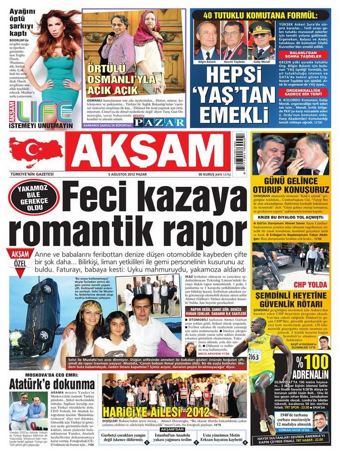 Gazete Manşetleri - 5 Ağustos 2012 Pazar 1