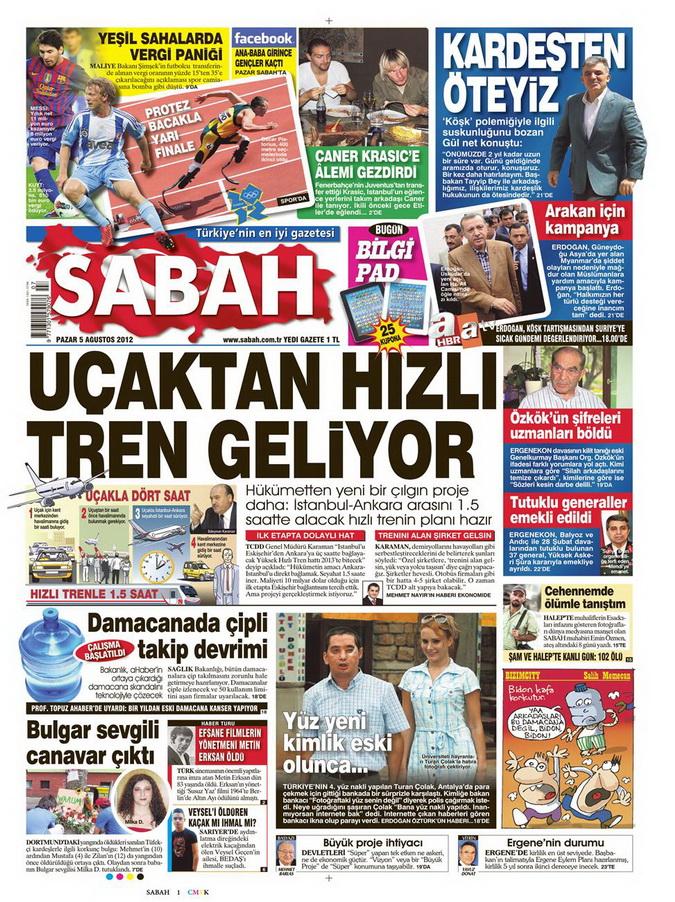 Gazete Manşetleri - 5 Ağustos 2012 Pazar 11