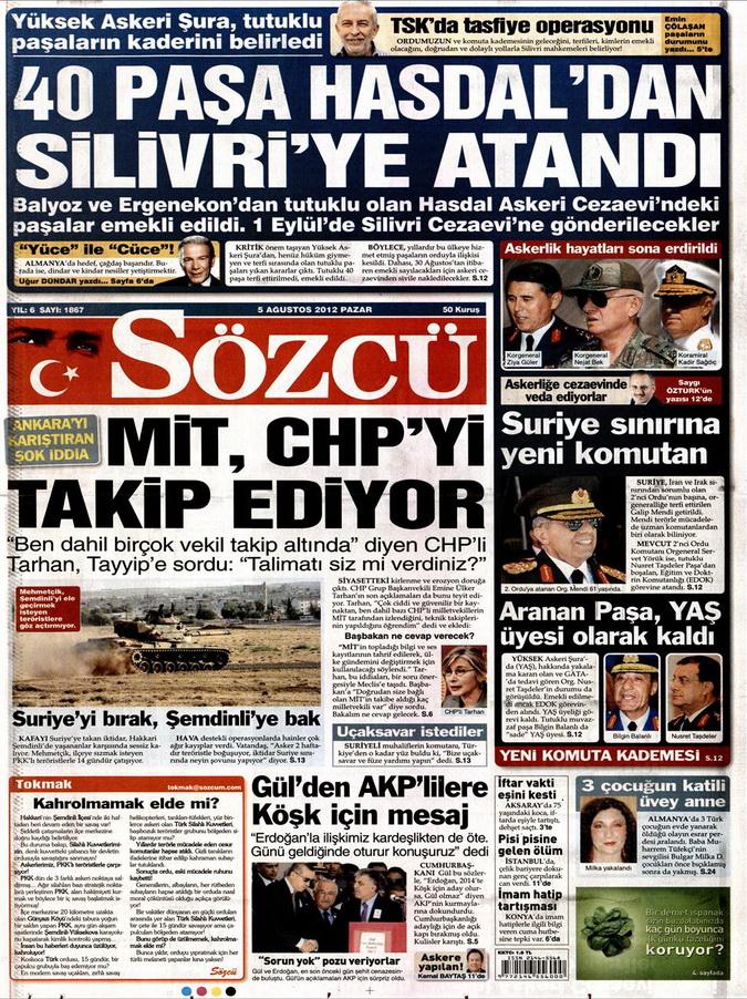 Gazete Manşetleri - 5 Ağustos 2012 Pazar 12