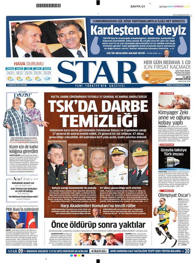 Gazete Manşetleri - 5 Ağustos 2012 Pazar 13