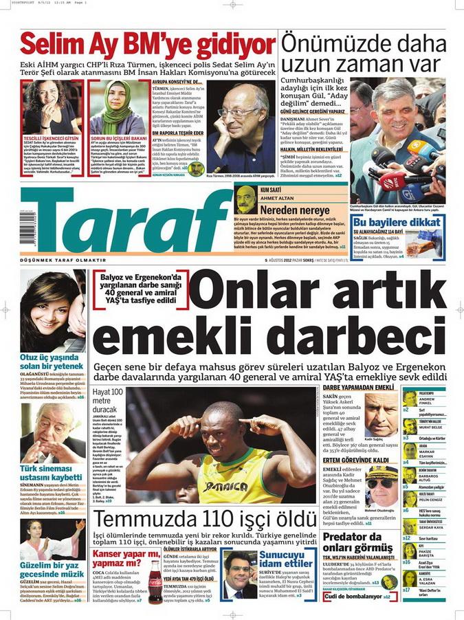 Gazete Manşetleri - 5 Ağustos 2012 Pazar 14