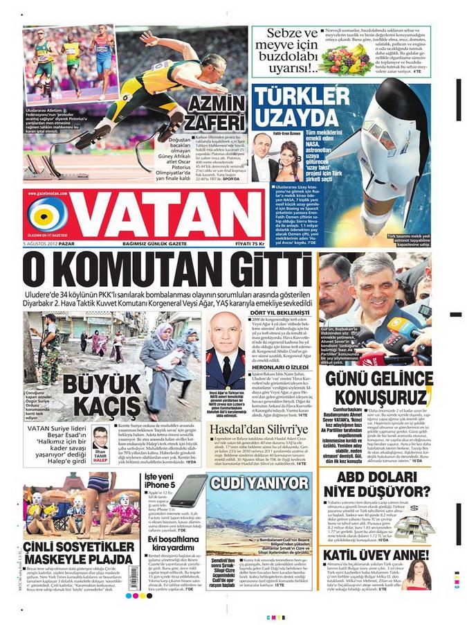 Gazete Manşetleri - 5 Ağustos 2012 Pazar 15