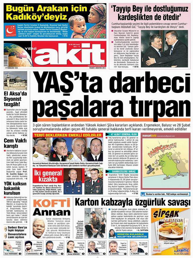 Gazete Manşetleri - 5 Ağustos 2012 Pazar 16