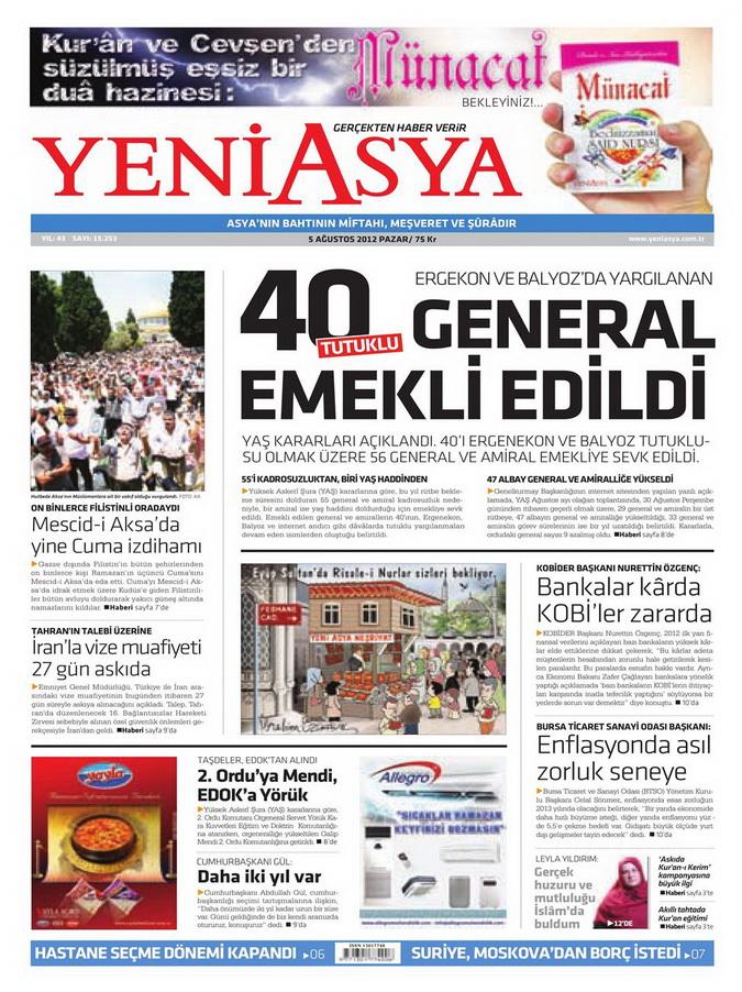 Gazete Manşetleri - 5 Ağustos 2012 Pazar 17