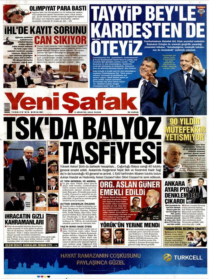 Gazete Manşetleri - 5 Ağustos 2012 Pazar 18