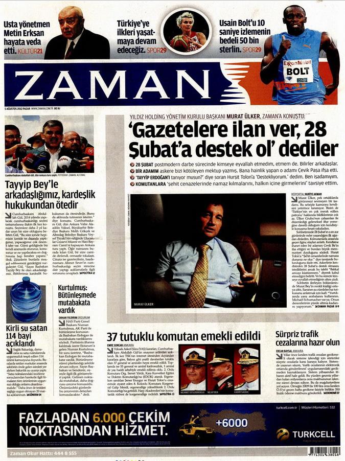 Gazete Manşetleri - 5 Ağustos 2012 Pazar 19