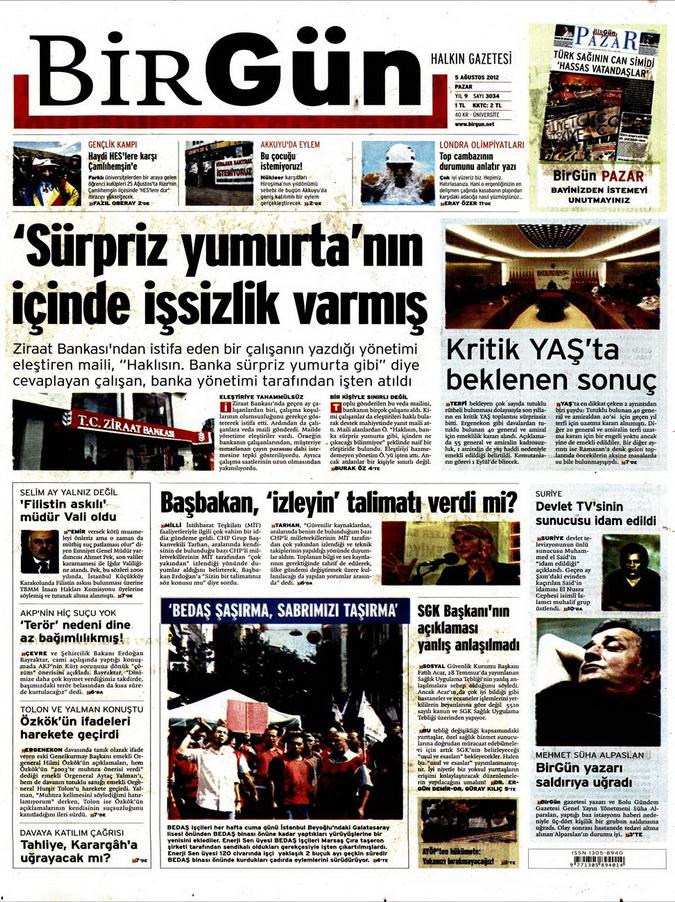 Gazete Manşetleri - 5 Ağustos 2012 Pazar 2