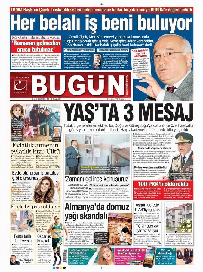Gazete Manşetleri - 5 Ağustos 2012 Pazar 3