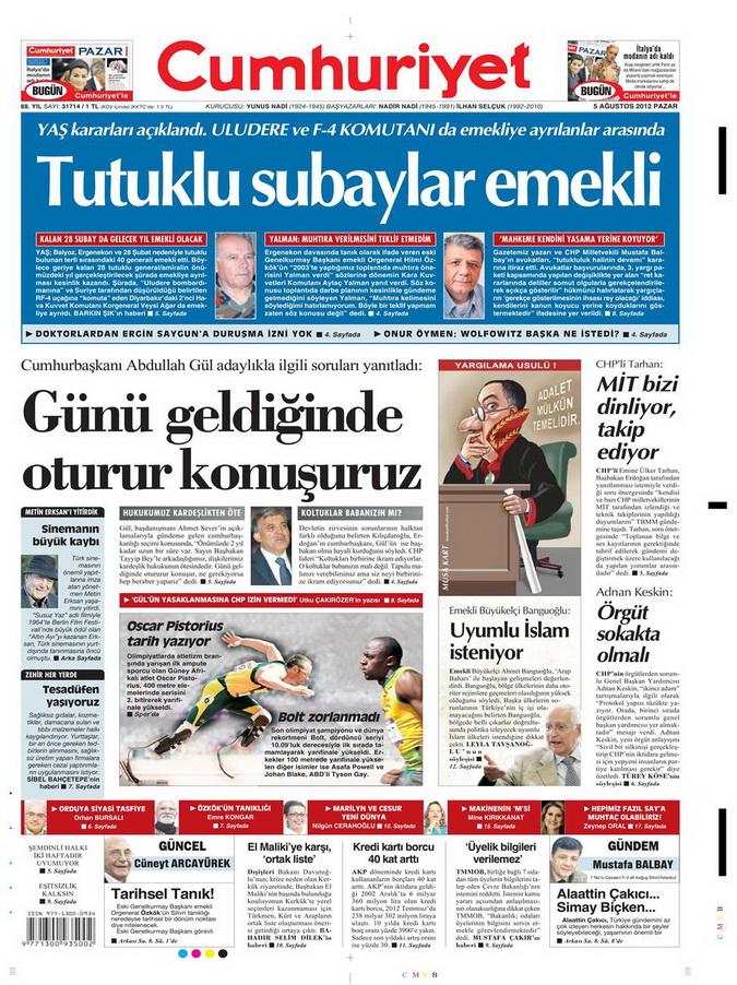 Gazete Manşetleri - 5 Ağustos 2012 Pazar 4