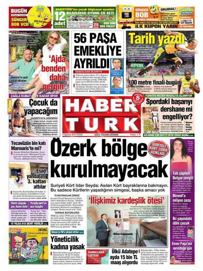 Gazete Manşetleri - 5 Ağustos 2012 Pazar 5