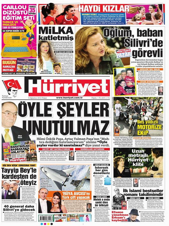 Gazete Manşetleri - 5 Ağustos 2012 Pazar 6