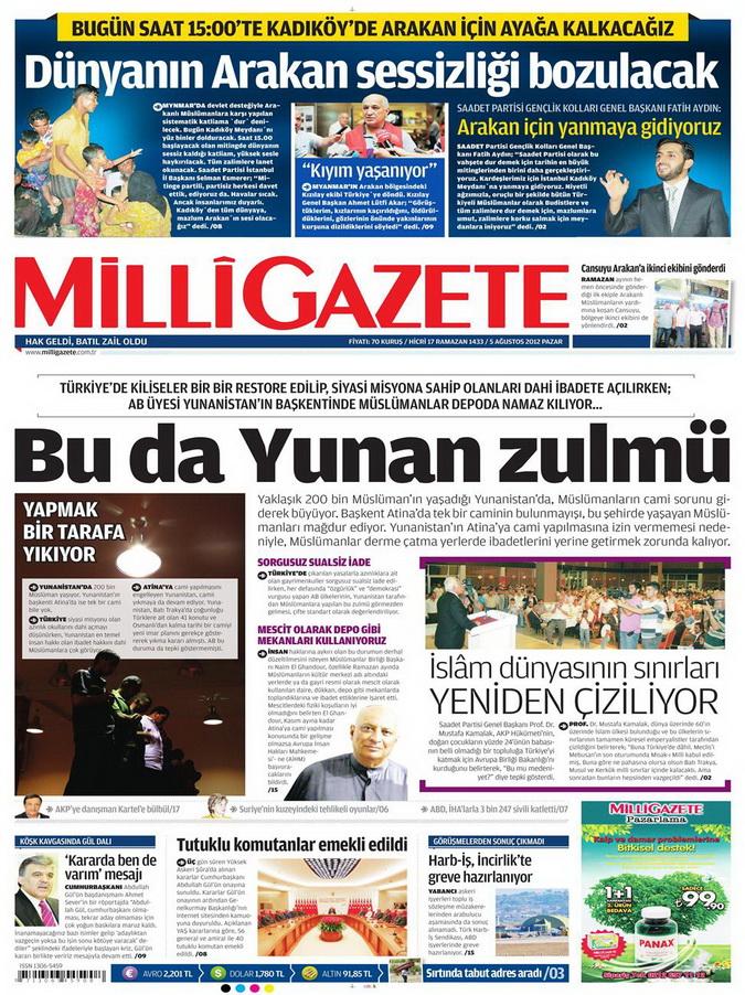 Gazete Manşetleri - 5 Ağustos 2012 Pazar 7