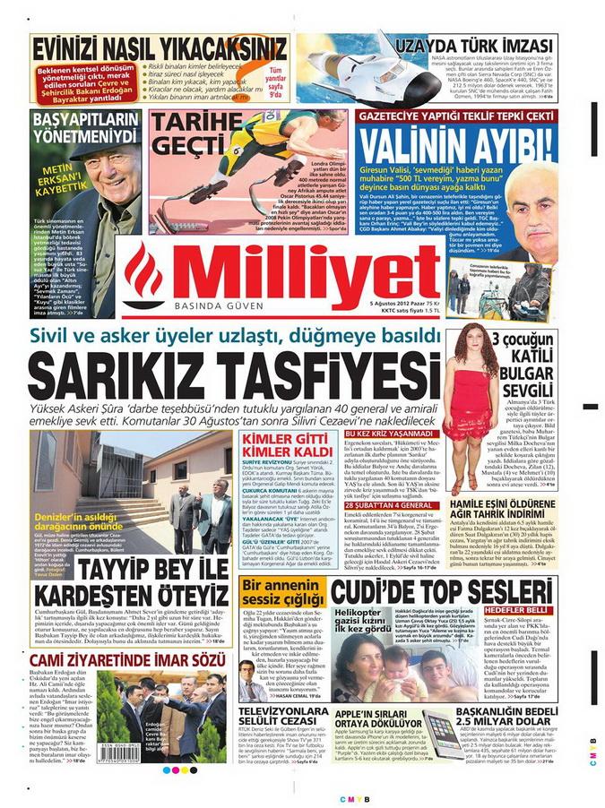 Gazete Manşetleri - 5 Ağustos 2012 Pazar 8
