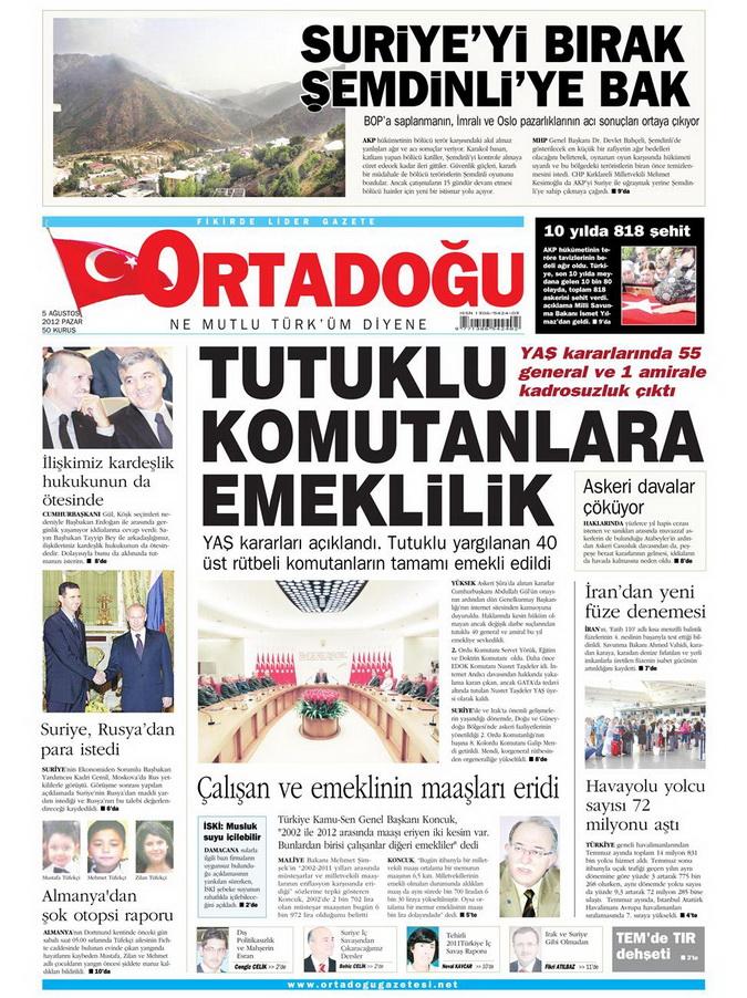 Gazete Manşetleri - 5 Ağustos 2012 Pazar 9