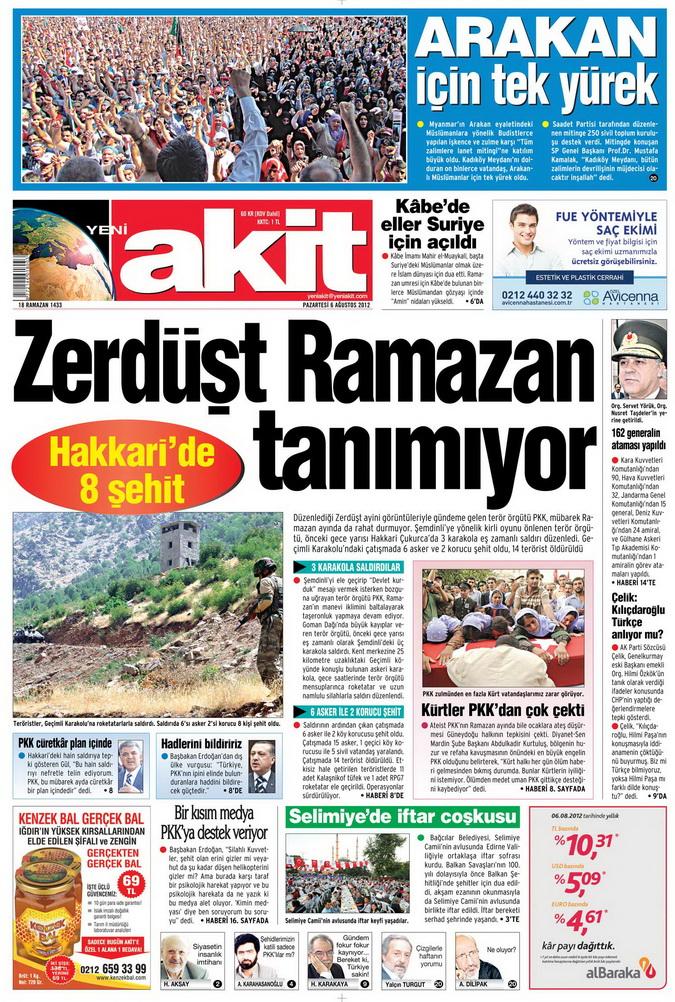 Gazete Manşetleri - 6 Ağustos 2012 Pazartesi 1