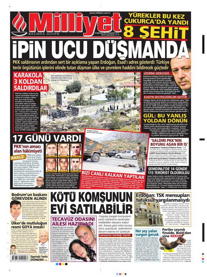 Gazete Manşetleri - 6 Ağustos 2012 Pazartesi 11