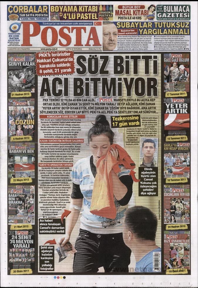 Gazete Manşetleri - 6 Ağustos 2012 Pazartesi 12