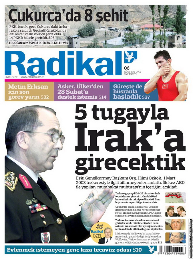 Gazete Manşetleri - 6 Ağustos 2012 Pazartesi 13