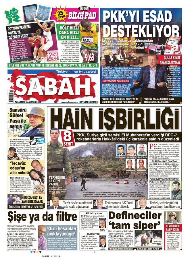 Gazete Manşetleri - 6 Ağustos 2012 Pazartesi 14