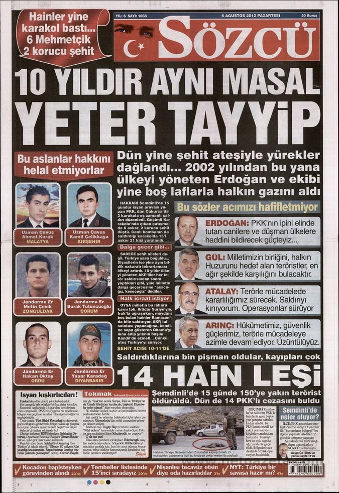 Gazete Manşetleri - 6 Ağustos 2012 Pazartesi 15
