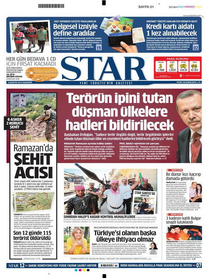 Gazete Manşetleri - 6 Ağustos 2012 Pazartesi 16