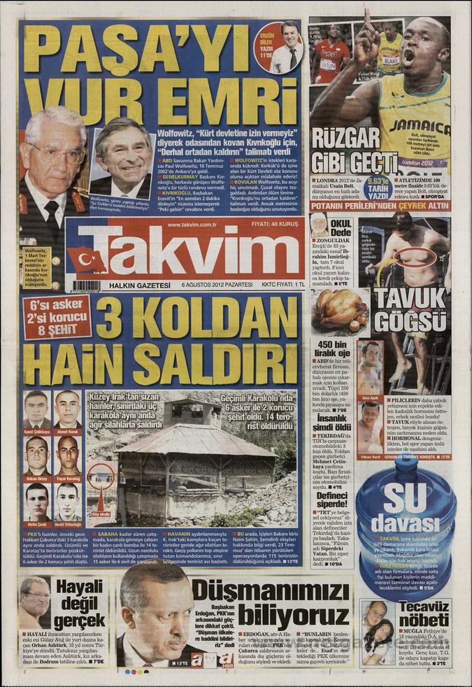 Gazete Manşetleri - 6 Ağustos 2012 Pazartesi 17