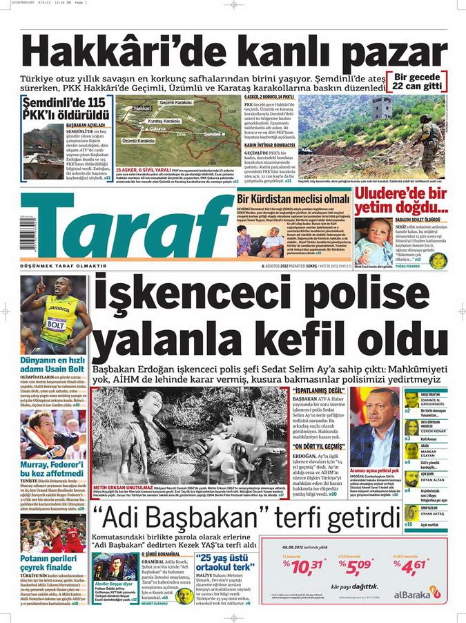 Gazete Manşetleri - 6 Ağustos 2012 Pazartesi 18