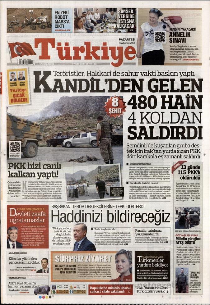 Gazete Manşetleri - 6 Ağustos 2012 Pazartesi 19