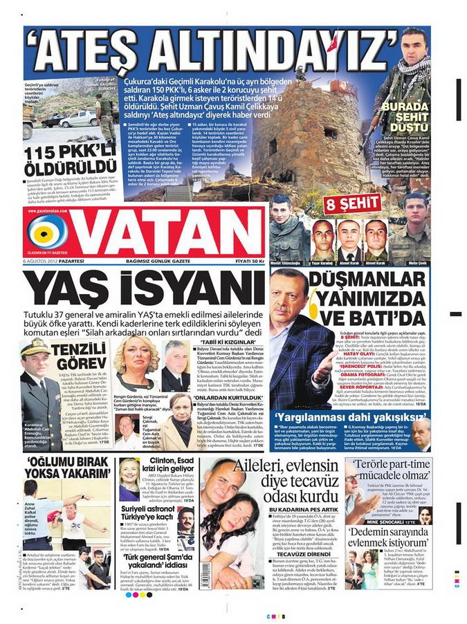 Gazete Manşetleri - 6 Ağustos 2012 Pazartesi 20