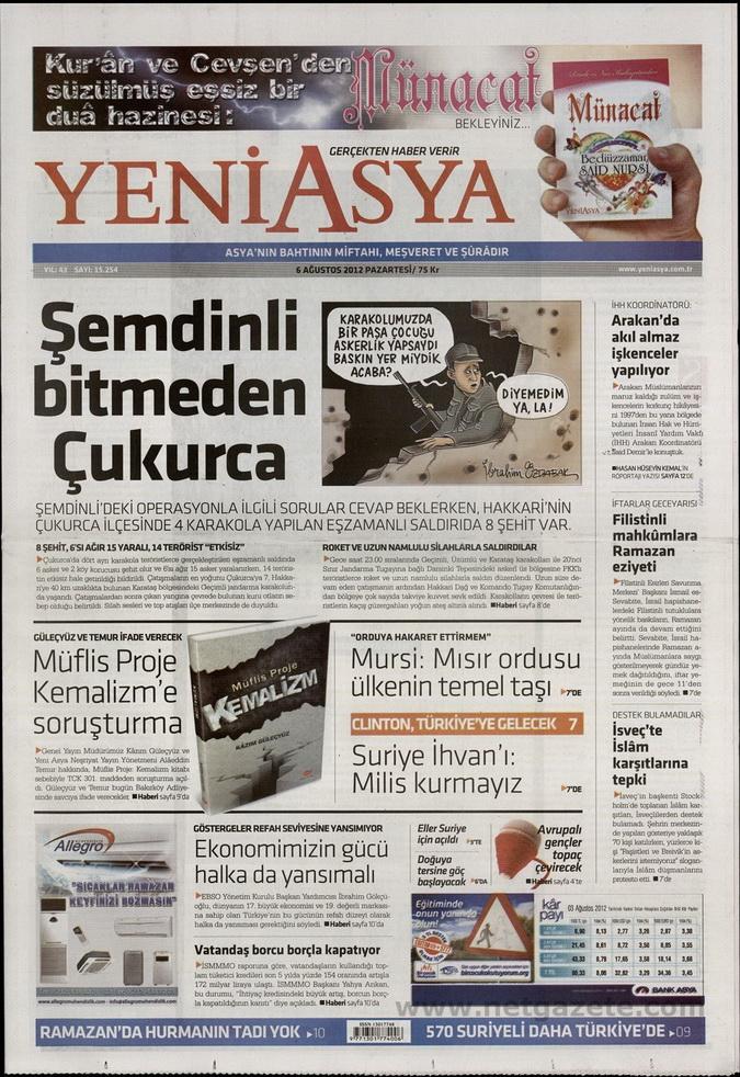 Gazete Manşetleri - 6 Ağustos 2012 Pazartesi 21
