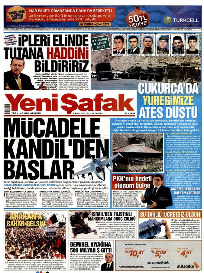 Gazete Manşetleri - 6 Ağustos 2012 Pazartesi 22
