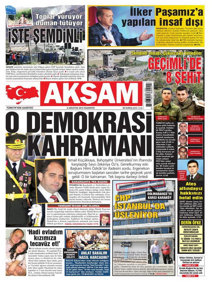 Gazete Manşetleri - 6 Ağustos 2012 Pazartesi 3