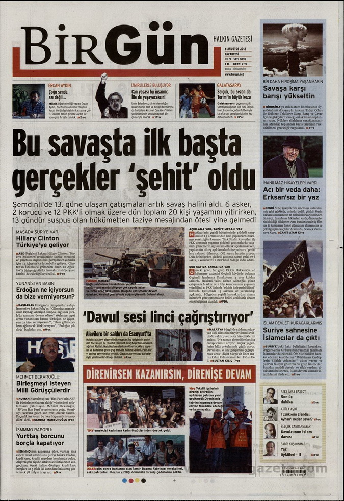 Gazete Manşetleri - 6 Ağustos 2012 Pazartesi 4