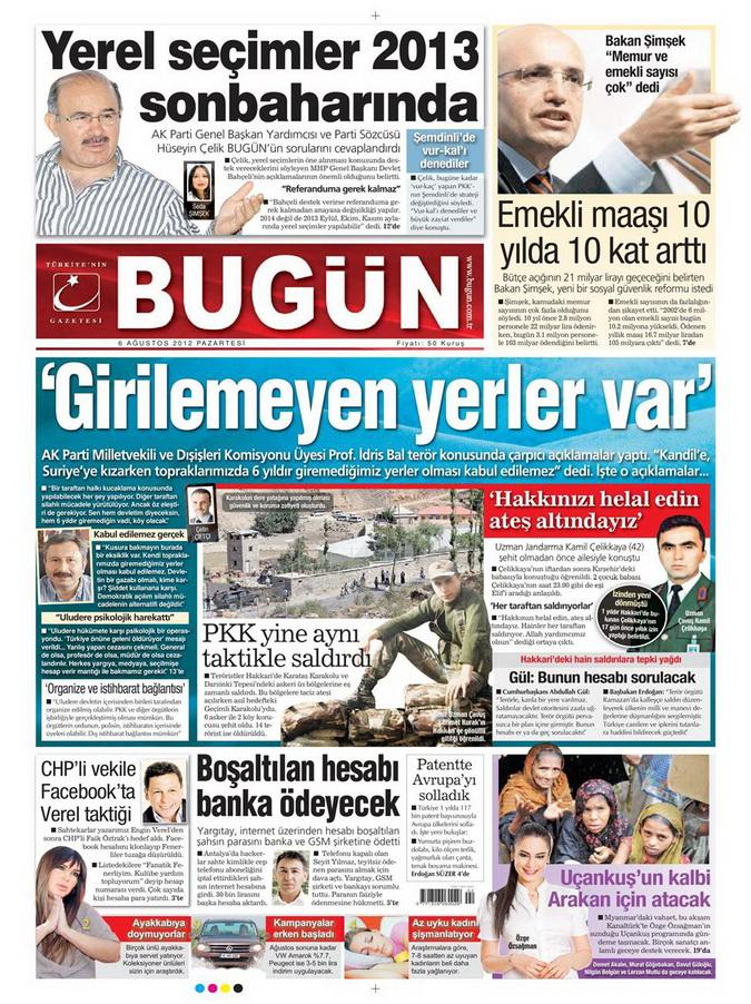 Gazete Manşetleri - 6 Ağustos 2012 Pazartesi 5