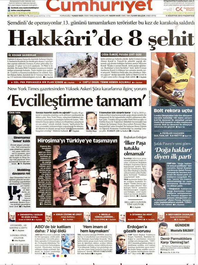 Gazete Manşetleri - 6 Ağustos 2012 Pazartesi 6