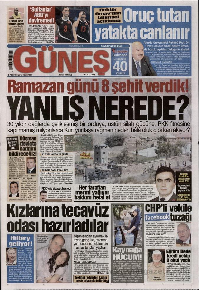 Gazete Manşetleri - 6 Ağustos 2012 Pazartesi 7