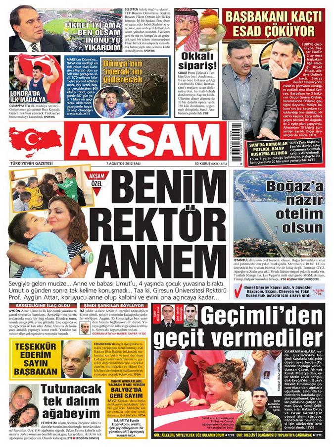 Gazete Manşetleri - 7 Ağustos 2012 Salı 1