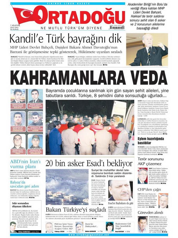 Gazete Manşetleri - 7 Ağustos 2012 Salı 11