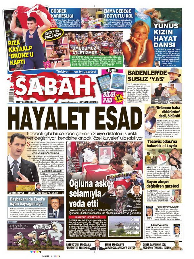 Gazete Manşetleri - 7 Ağustos 2012 Salı 14