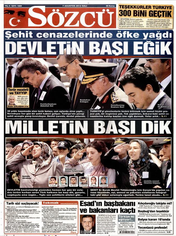 Gazete Manşetleri - 7 Ağustos 2012 Salı 15