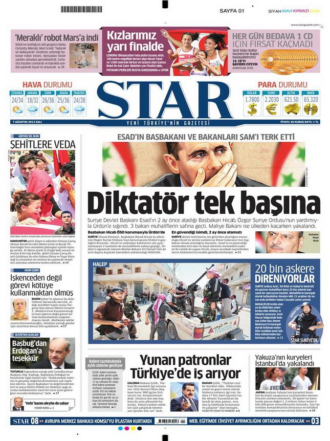 Gazete Manşetleri - 7 Ağustos 2012 Salı 16