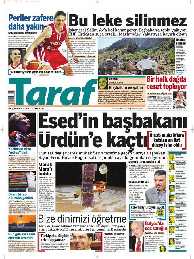 Gazete Manşetleri - 7 Ağustos 2012 Salı 17