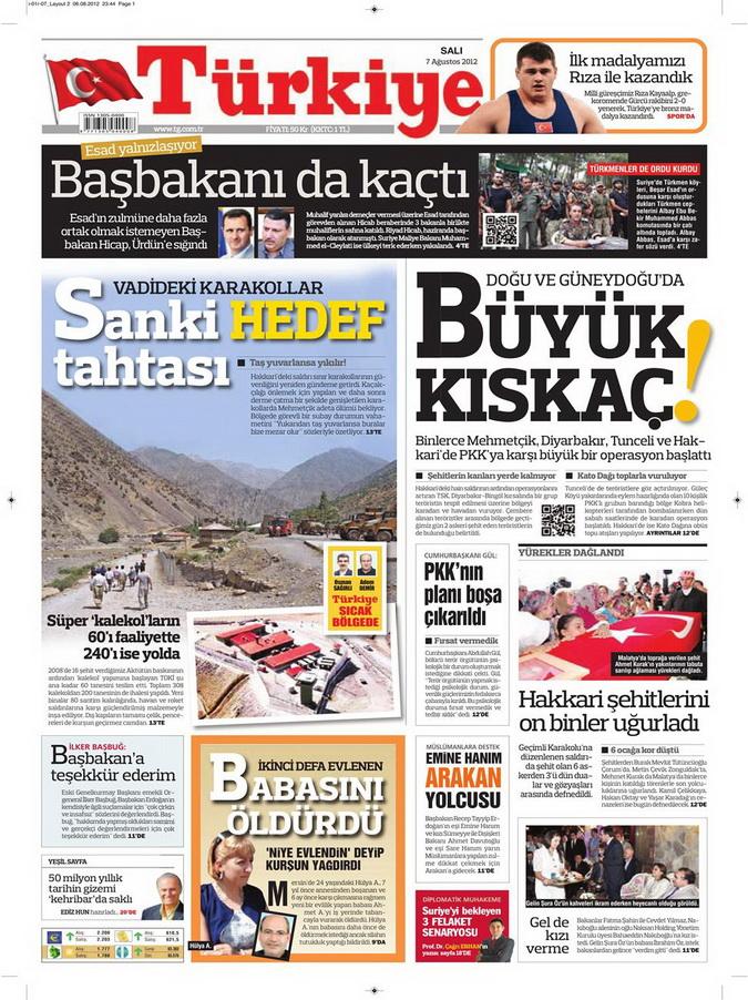 Gazete Manşetleri - 7 Ağustos 2012 Salı 18