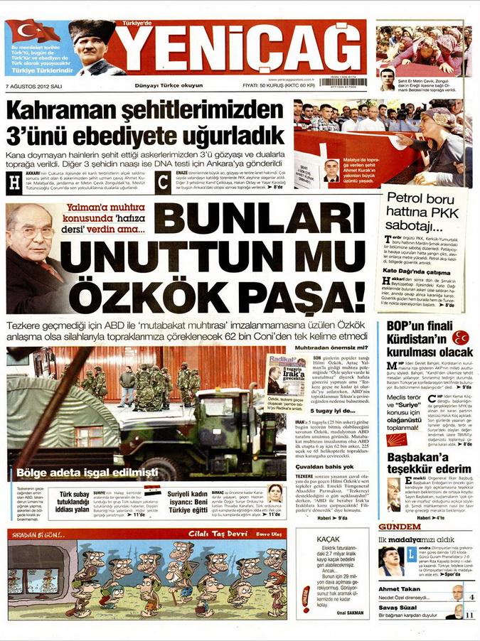 Gazete Manşetleri - 7 Ağustos 2012 Salı 19