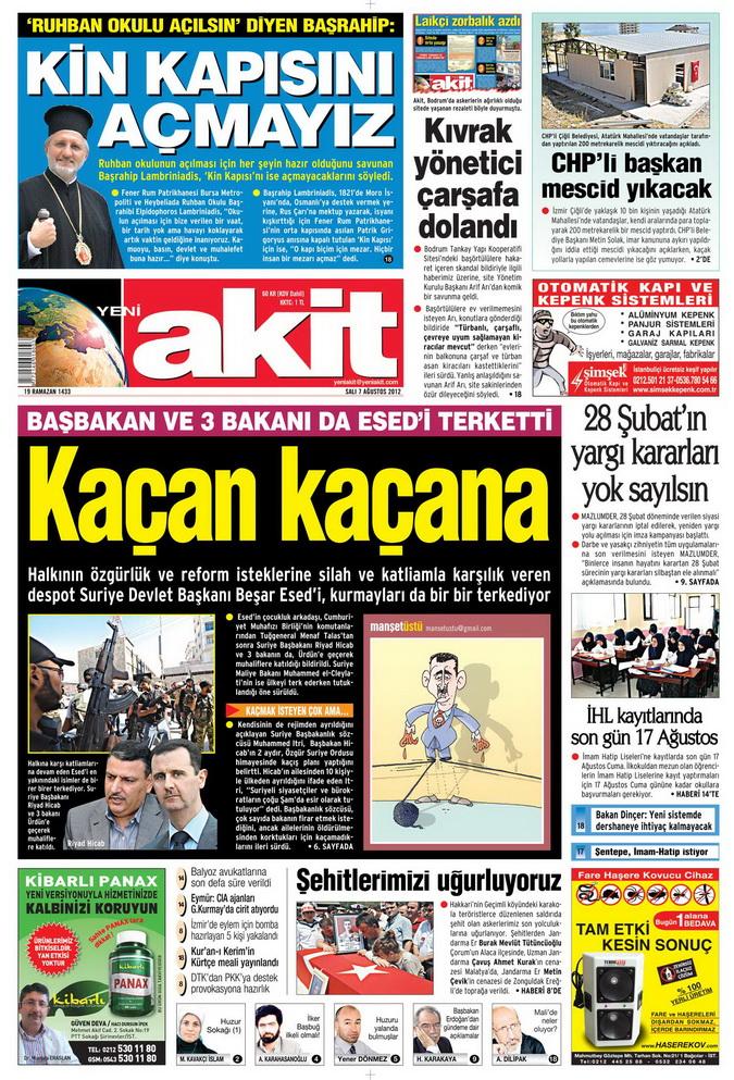 Gazete Manşetleri - 7 Ağustos 2012 Salı 21